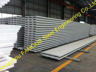 China Fiberglass Rockwool Insulated Sandwich Panels , Prefabricated Roof Wall supplier