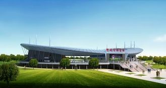 China Welding, Braking, And Painting Steel Pipe Metal Truss Buildings And Sports Stadiums supplier