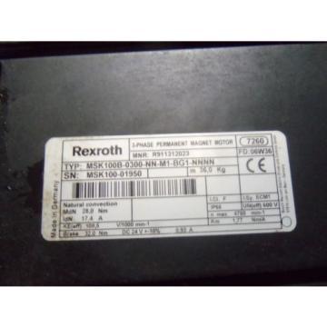 REXROTH Greenland MSK100B-0300-NN-M1-BG1-NNNN PERMANENT MAGENT MOTOR USED