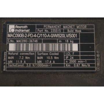 Origin CaymanIslands REXROTH MAC090B-2-PD-4-C/110-A-0/WI520LV/S001 SERVO MOTOR 235515