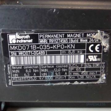 Rexroth Iceland Indramat Servomotor MKD071B-035-KP0-KN R911274565 NOV