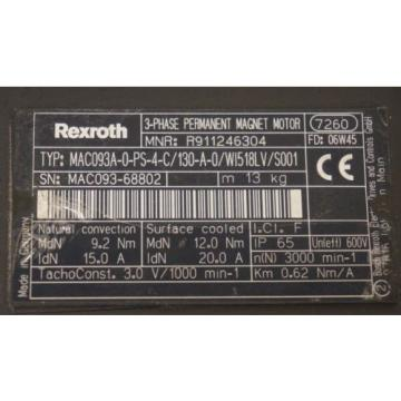 Origin Cayman Islands  REXROTH MAC093A-0-PS-4-C/130-A-0/WI518LV/S001 SERVO MOTOR R911246304