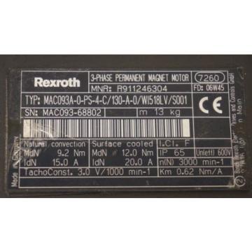 Origin CaymanIslands REXROTH MAC093A-0-PS-4-C/130-A-0/WI518LV/S001 SERVO MOTOR R911246304