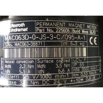 REXROTH France INDRAMAT PERMANENT -MAGNET-MOTOR / MAC063D-0-JS-3-C / 095-A-1