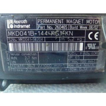 Rexroth Italy  Indramat MKD041B-144-KG1-KN Permanent Magnet Motor with brake