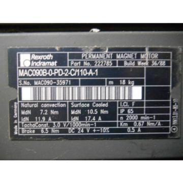 REXROTH Kazakhstan INDRAMAT MAC090B-0-PD-2-C/110-A-1 SERVO MOTOR P/N 222785 Origin NO BOX