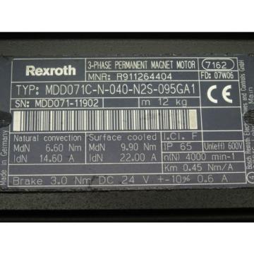 Bosch Morocco Rexroth Indramat Servomotor MDD071C-N-040-N2S-095GA1 R911264404