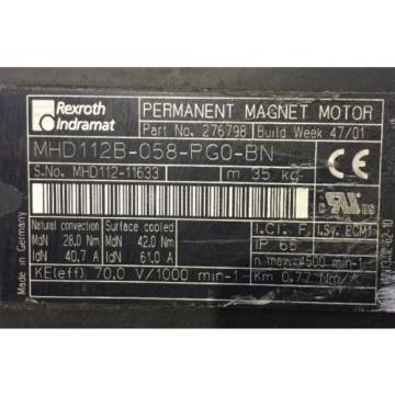 REXROTH FaroeIslands INDRAMAT PERMANENT-MAGNET-MOTOR lt;gt; MHD112B-058-PG0-BN