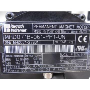USED Chile  Rexroth Indramat MHD071B-061-PP1-UN Permanent Magnet Servo Motor Conn Loose