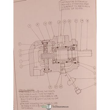 Denison St. Lucia  600, 700 800 Series, Vane Type Pump Motor Service Manual 1964