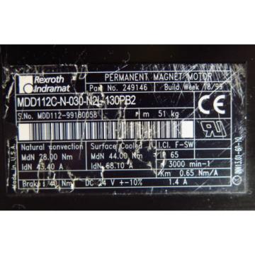 Rexroth Kenya Indramat Servo Motor MDD112C-N-030-N2L-130PB2 P/N:249146 1 Year Warranty