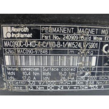 Rexroth FalklandIslands Indramat MAC090C-0-KD-4-C Servo Motor w/ Geber Rod NICE SHAPE