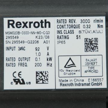 REXROTH Jordan MSM020B MSM020B-0300-NN-M0-CG0-295549 Servomotor Syncro Drive Motor USED