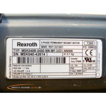 Rexroth Japan MSK040B-0450-NN-M1-UG1-NNNN 3-Phase Permanent Magnet Motor