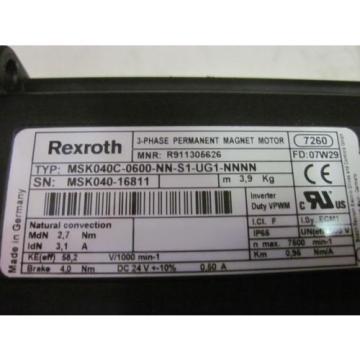 WARRANTY India Origin Rexroth MSK040C-0600-NN-S1-UG1-NNNN Permanent Magnet Servo Motor