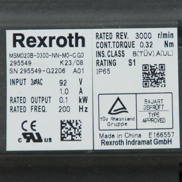 REXROTH Cyprus MSM020B MSM020B-0300-NN-M0-CG0-295549 Servomotor Syncro Drive Motor USED #2 image